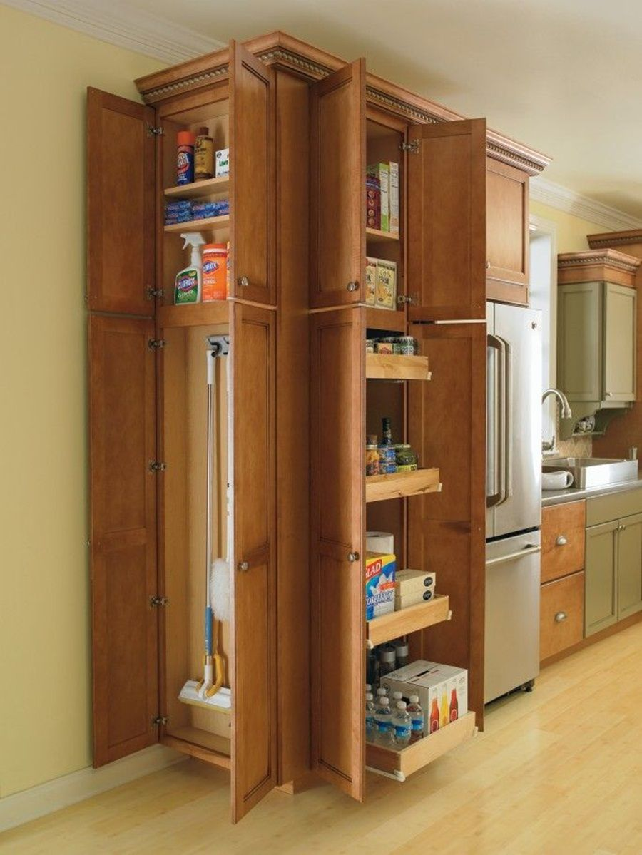 Tips For Build Broom Closet Cabinet In 2020 Kitchen Pantry Furniture Pantry Furniture Kitchen Cabinet Outlet