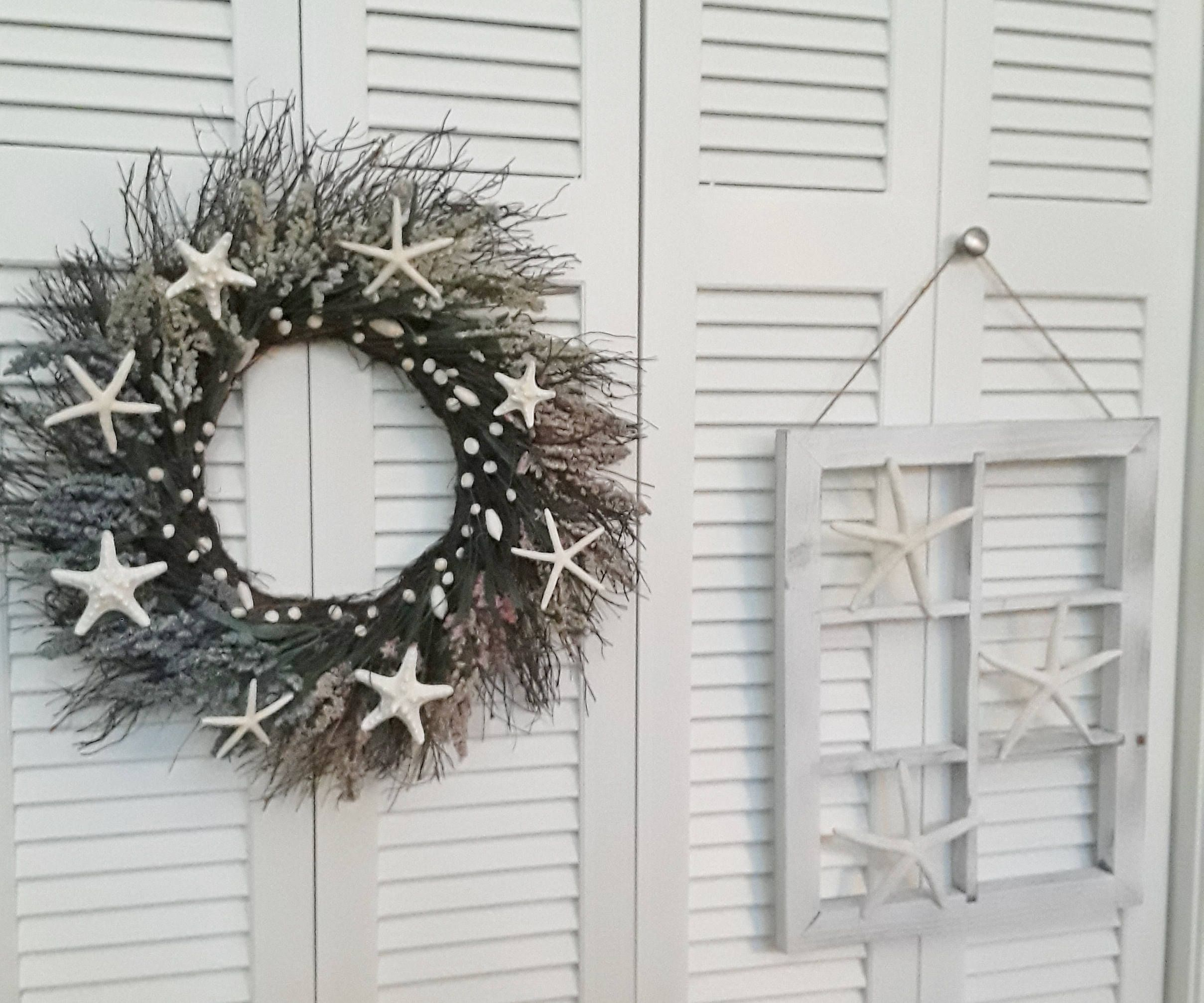 Starfish Wreath Window Frame Rustic wall hangings Beach Decor