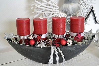 Weihnachtsdeko Rot Silber.Adventsgesteck Adventskranz 40 Cm Weihnachtsgesteck Edel Grau Rot