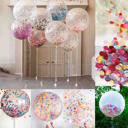 5Pcs 36 Inch Clear Latex Confetti Balloons Wedding Birthday Party Decoration SPECIAL TODAY ! - Walmart.com