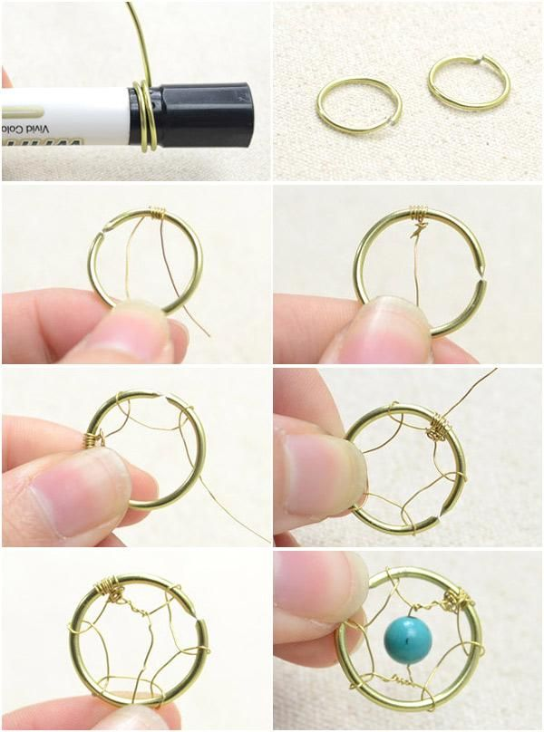 How to make delicate dream catcher earrings with flowery for How to make a dreamcatcher step by step