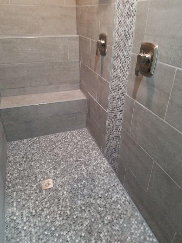 Walk In Shower Tile Walk In Shower Bathroom Remodel Master Penny Tile
