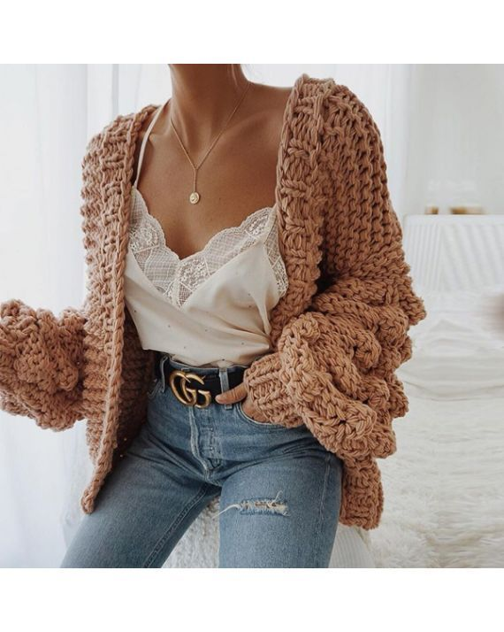 Caitlin Puff Sleeves Hand Knit Cardigan - #Caitlin #Cardigan #hand #Knit #Puff #Sleeves