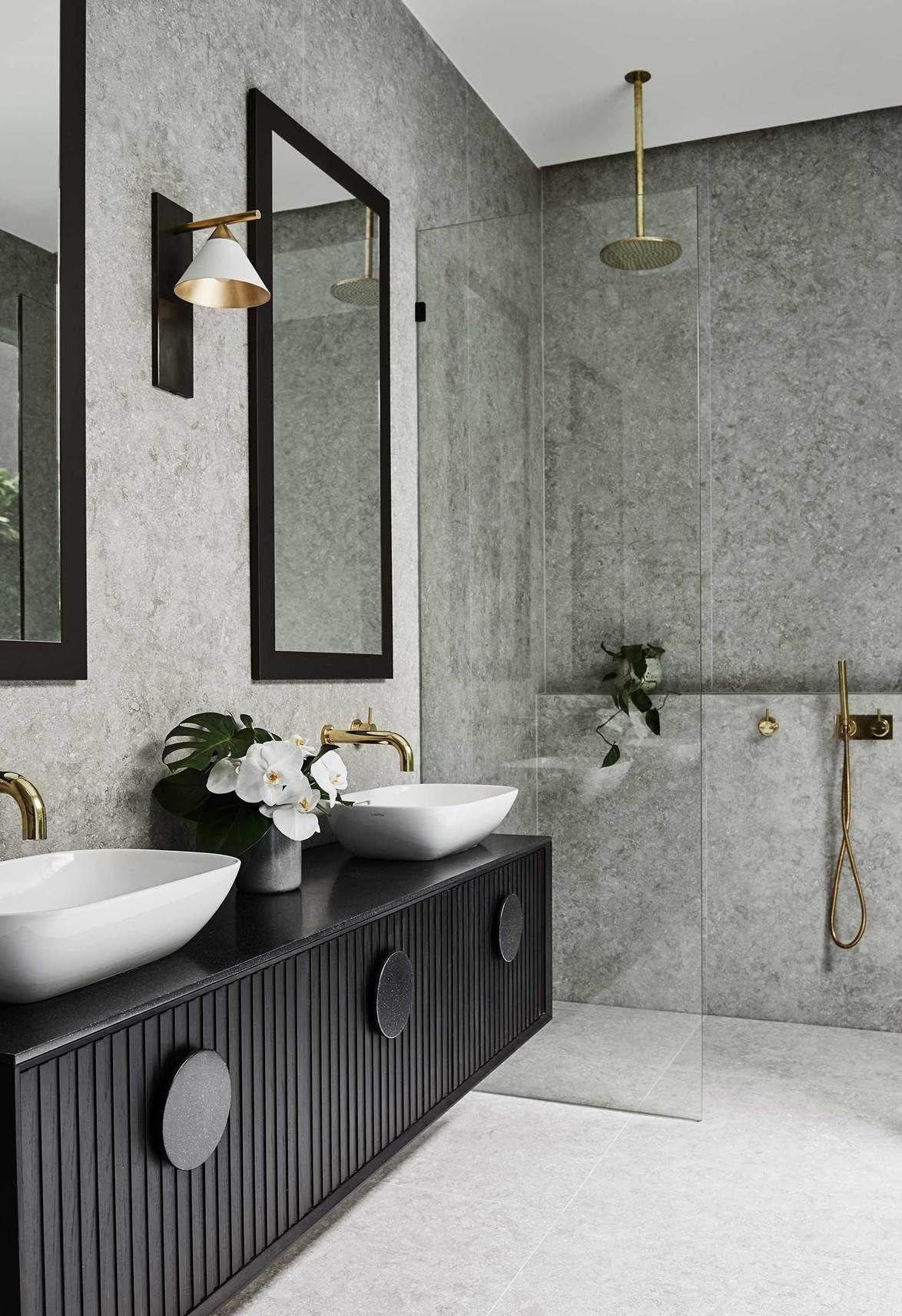 The Block S Alisa And Lysandra Renovate A Heritage Home Stone Tile Bathroom Bathroom Tile Designs Bathroom Decor