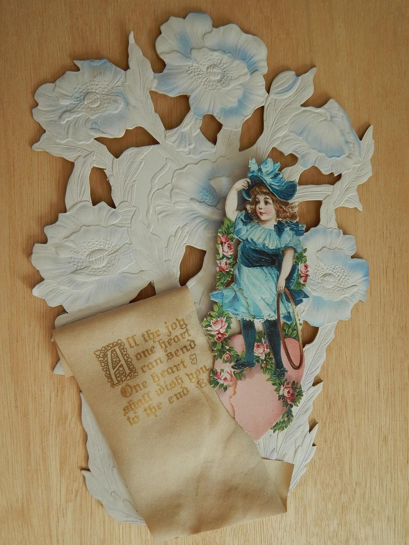Antique Valentine w/easel back. Now available in my Ruby Lane shop: Kim's Doll Gems