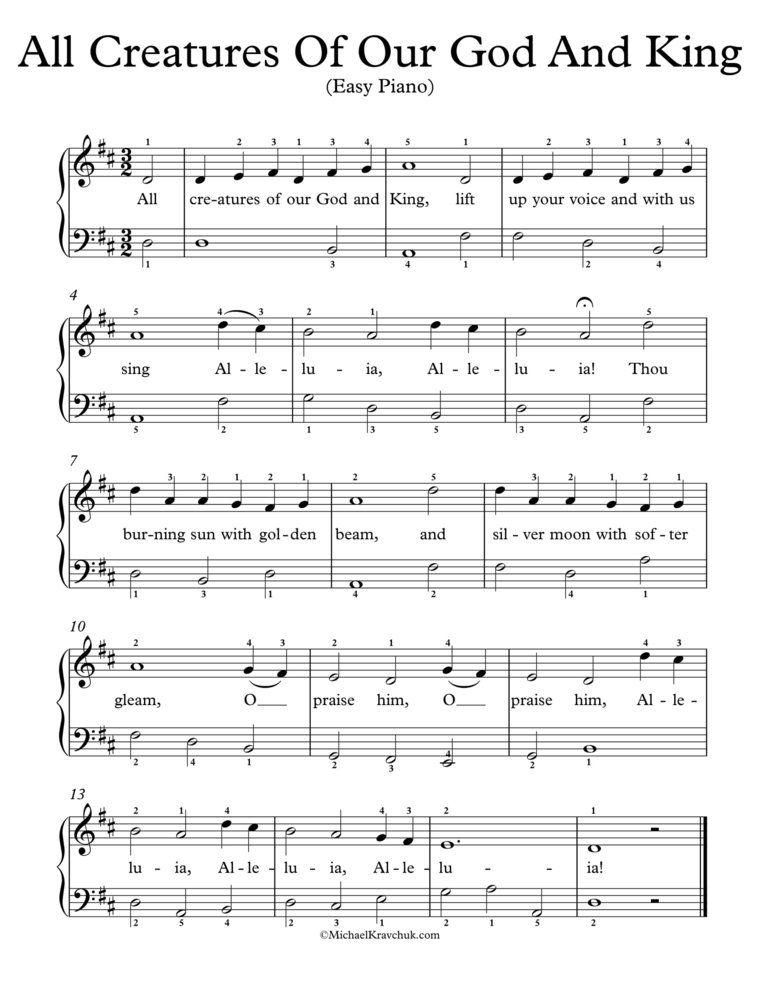 Easy Piano Arrangement Sheet Music All Creatures Of Our God And King Sheet Music Easy Piano Singing Lessons
