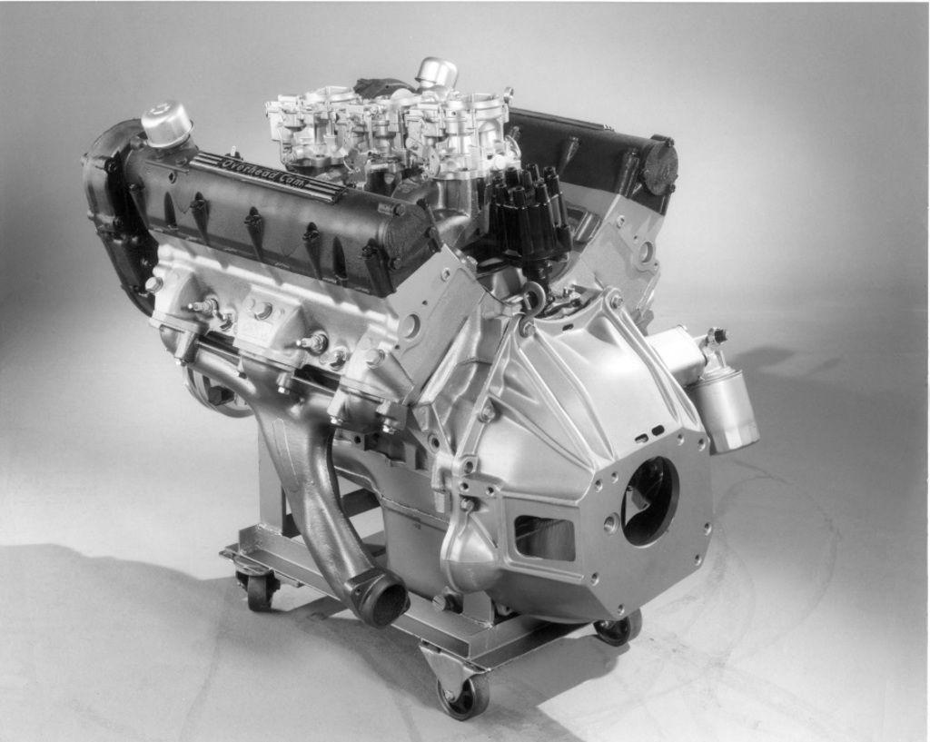 rare factory photo of pontiacs 1964 experimental 421 sohc engine [ 1024 x 817 Pixel ]