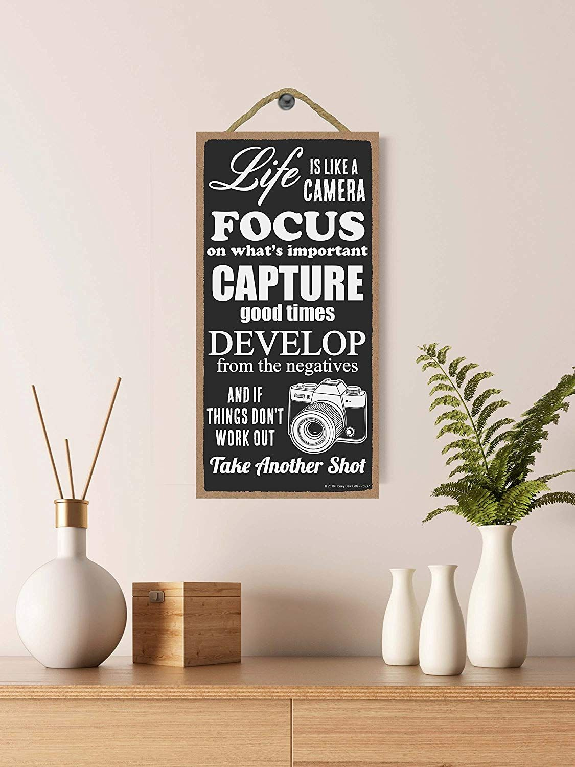 Decorative Wood Sign Home Decor Life is Like a Camera 5 x 10 inch Hanging Decor Inspirational Wall Art