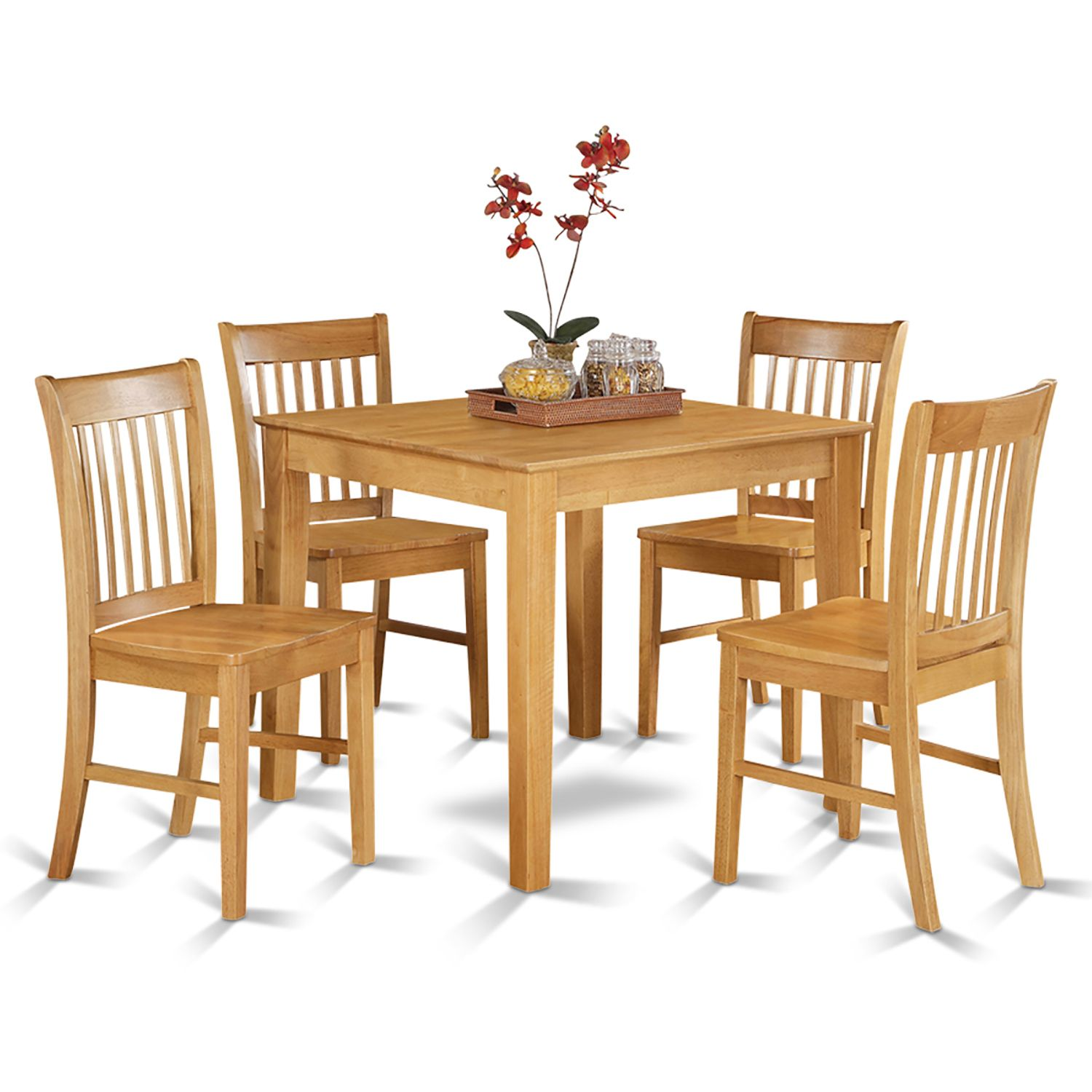 oak square table and 4 kitchen chairs 5 piece dining set for friends squares and products. Black Bedroom Furniture Sets. Home Design Ideas