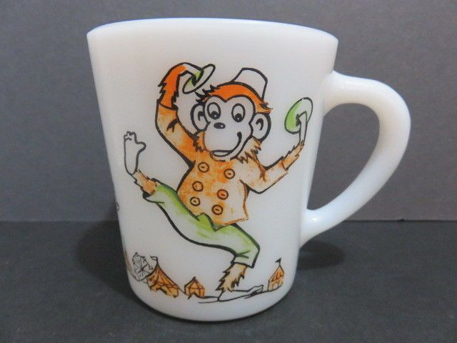 Vintage PARTY CIRCUS MONKEY MUG White Milk glass  Cup Mug #Unbranded