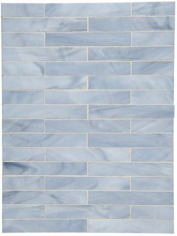 Repose 1 X 6 Staggered Mosaic Waterworks Blue Bathroom Tile Modern Beach Decor