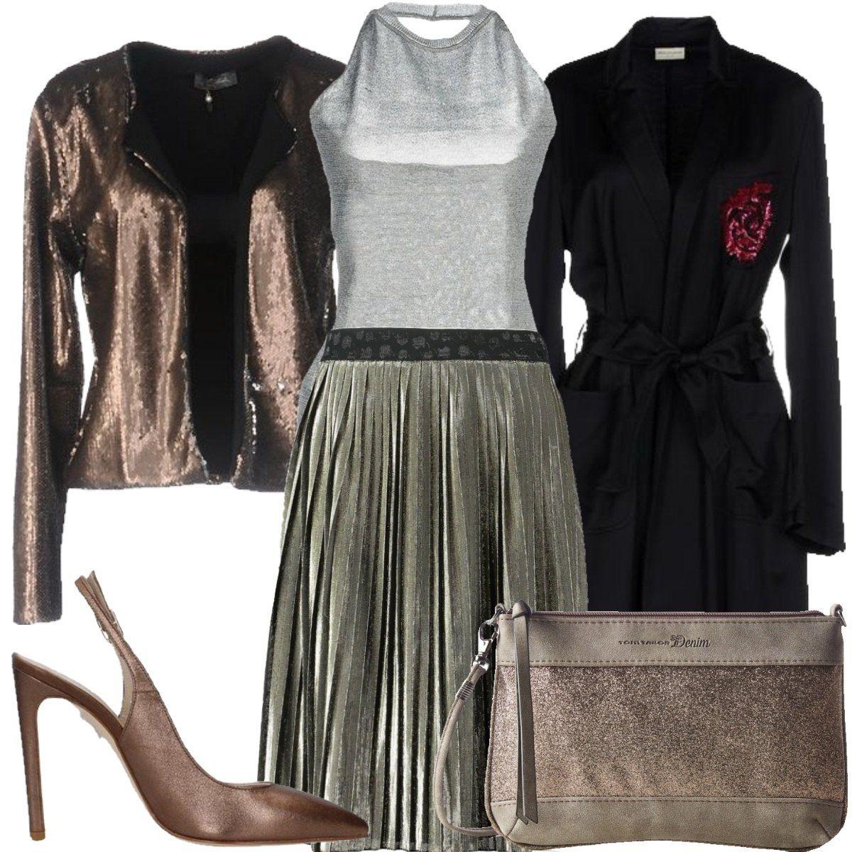 Gonna a pieghe e luminosità: outfit donna Trendy per serata fuori | Bantoa