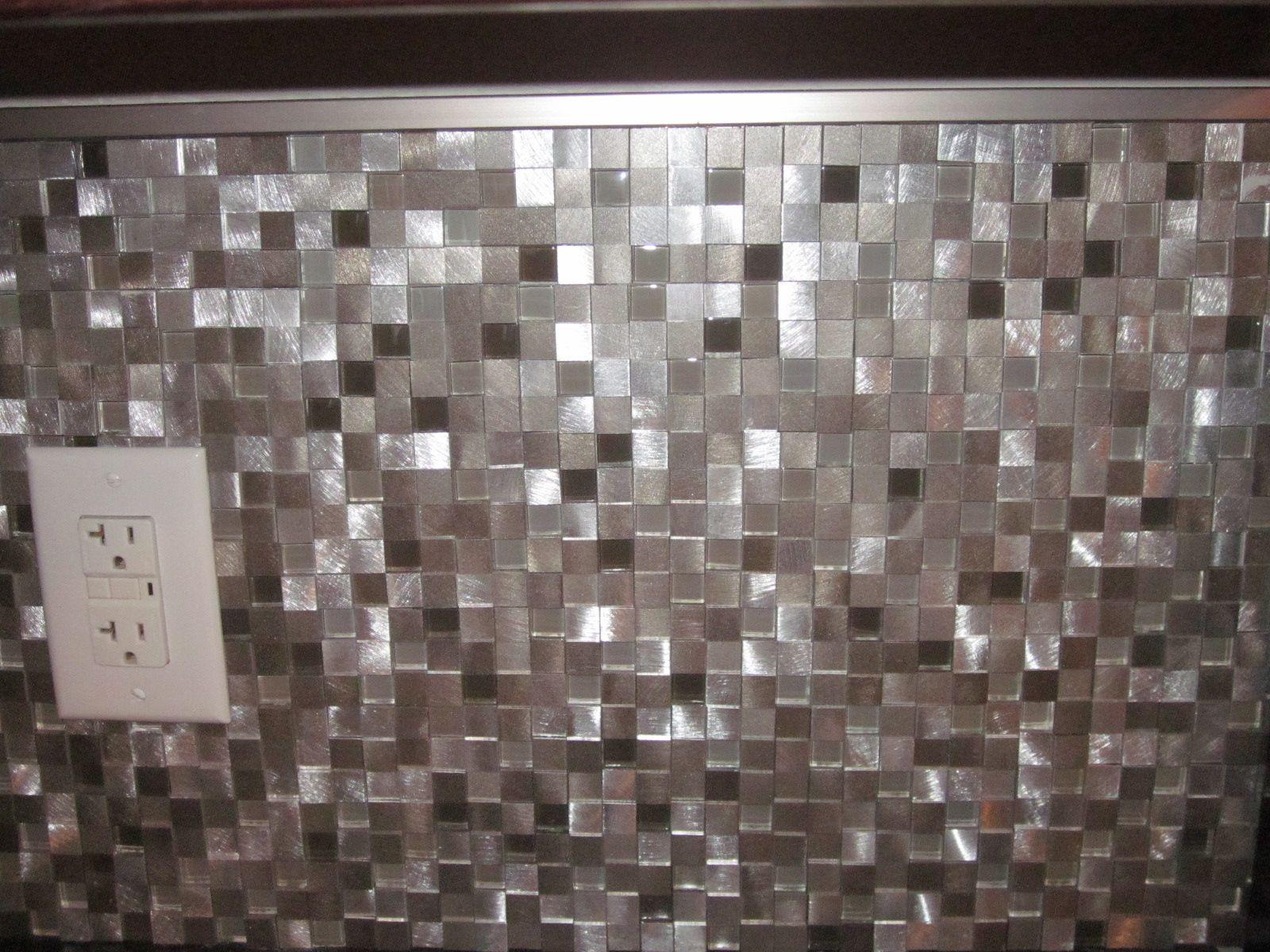 Eden Mosaic Tile 3D Silver And Pewter Aluminum Square Mosaic Tile EMT ALC3D MIX