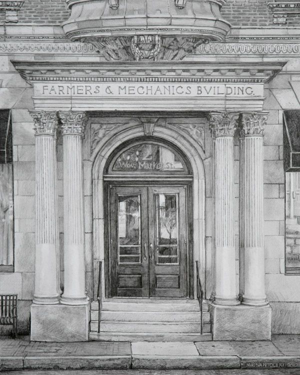 Nicholas santoleri farmers and mechanics building pencil drawing