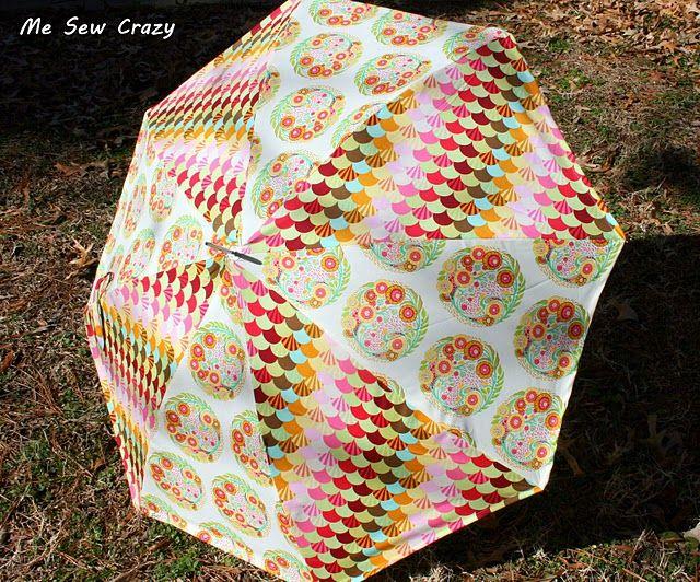 ricoprire un ombrello con tessuto