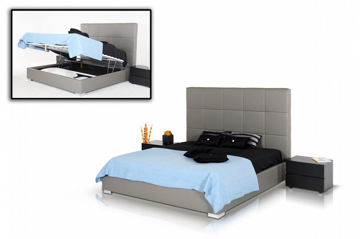 Best Modrest Messina Modern Grey Eco Leather Bed With Lift 400 x 300