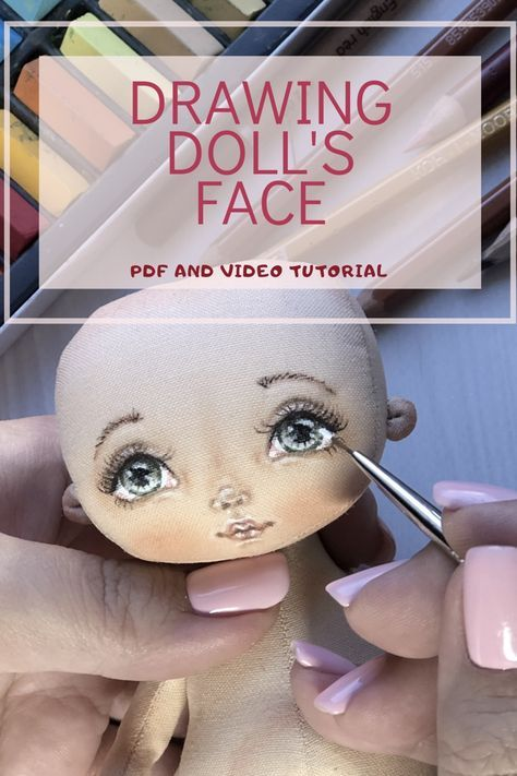 Face painting. Handmade cloth doll. How to draw a doll face. Textile doll.Face of cloth doll. doll makeup