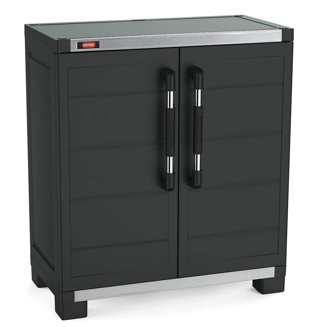 Keter Xl Pro Freestanding Durable Resin Plastic Utility Base Cabinet With Adjustable Shelving Black Rangement Utilitaire Etageres Reglables Rangement