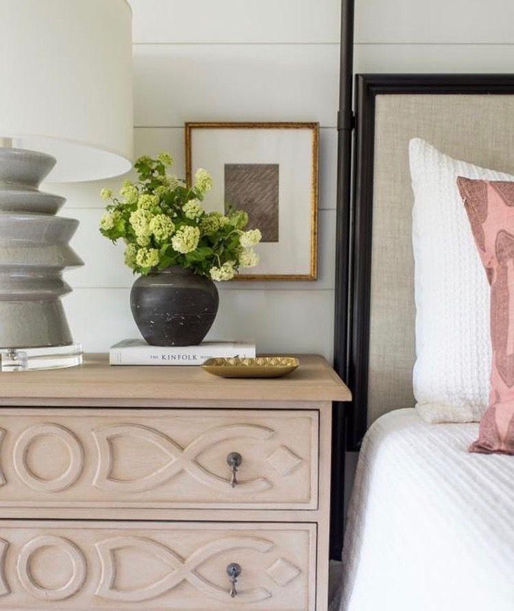 Bedroom Nightstand Graphite Table Lamp | White shiplap ...