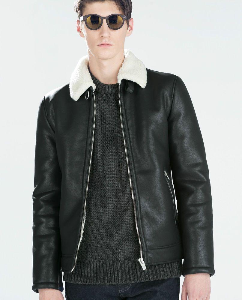 1fae48f3 ZARA Man BNWT Black Faux Leather Aviator Flying Jacket Shearling Collar  0706/341