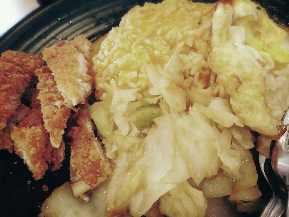 Curry rice with fried pork chop & cabbage