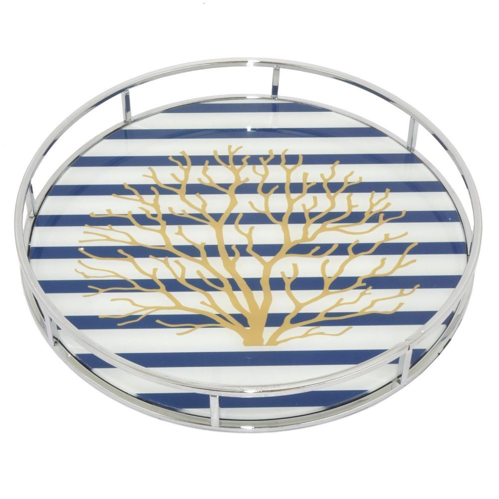 Benzara /Blue/White 15-inch Serving Tray With Designs