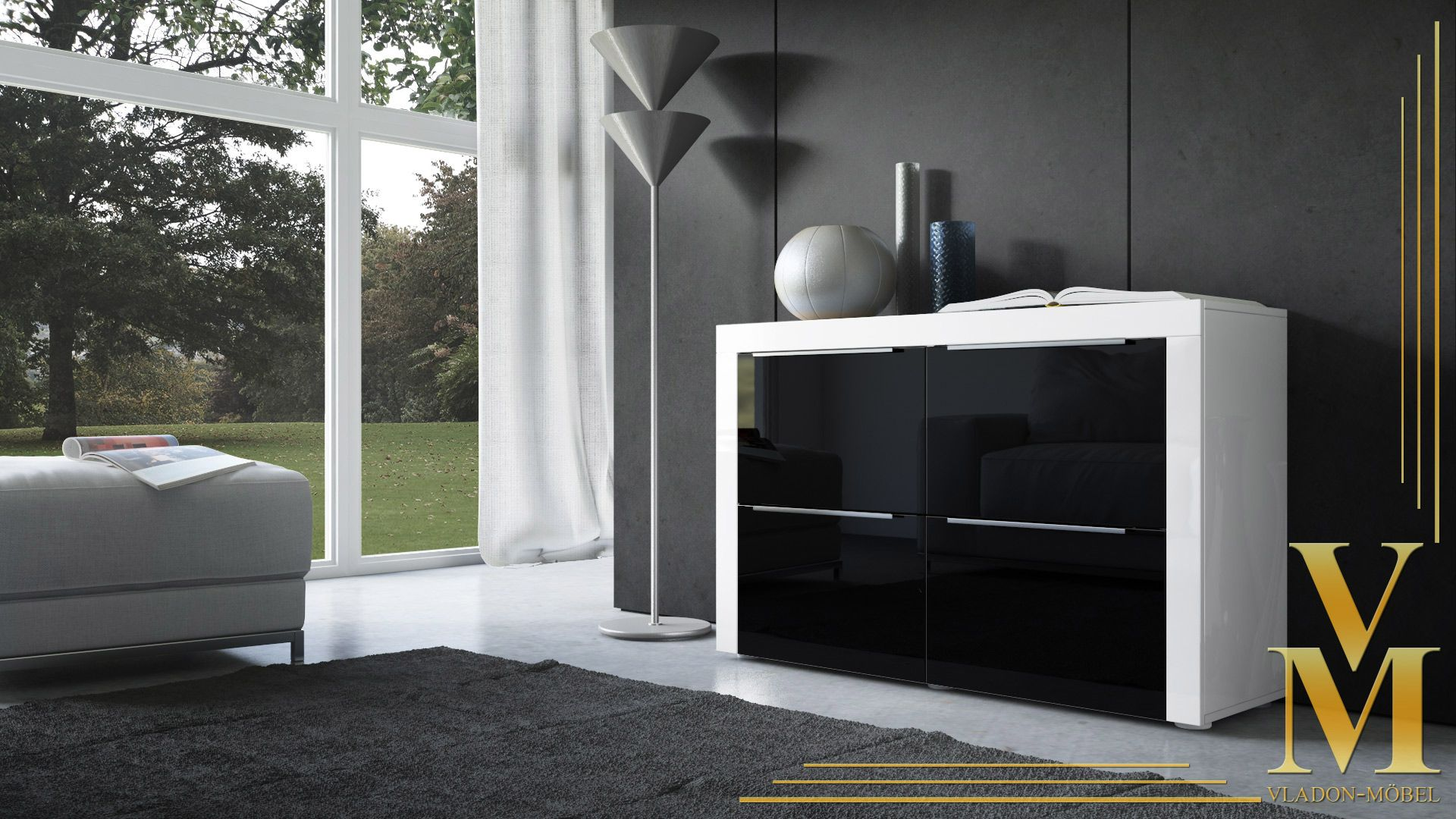 Kommode schwarz weiß  Nett sideboard weiß schwarz hochglanz | Deutsche Deko | Pinterest ...