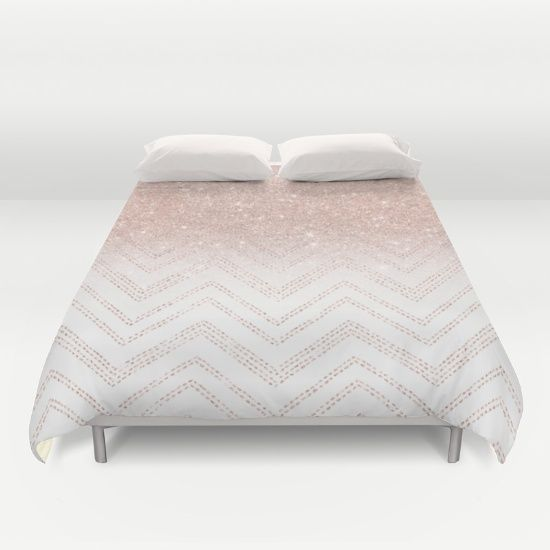 A Modern Girly And Chic Pattern With Faux Rose Gold Glitter Ombre And A Geometric Chevron Stit Rose Gold Bed Sheets Simple Girls Bedroom Rose Gold Duvet Cover