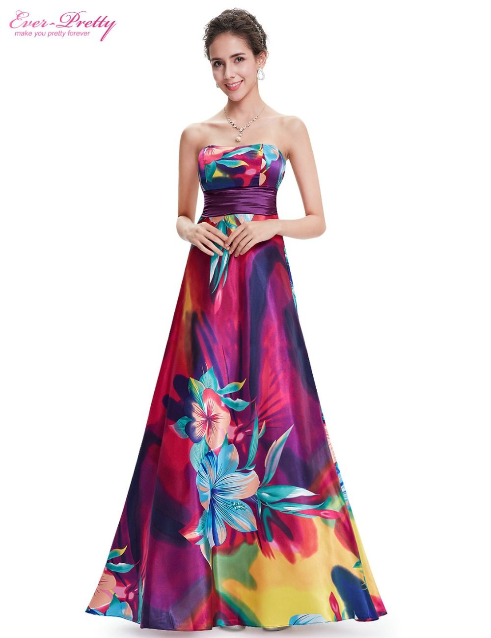 Gorgeous Colorful Strapless Long Evening Dress Padded Enough For No Bra Option Elastic Band