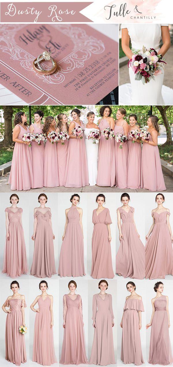 wedding bridesmaid dusty pink dress