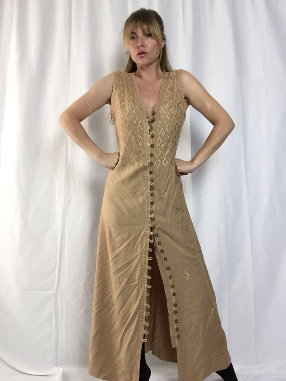 Vintage 90\'s Nude Moroccan Dress   Button Up   Desert   Kaftan ...
