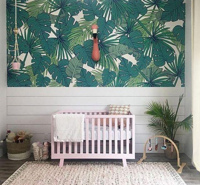 Tropical Wallpaper Island Inspired Nursery Design Pink Crib Modern Baby Decorating Ideas