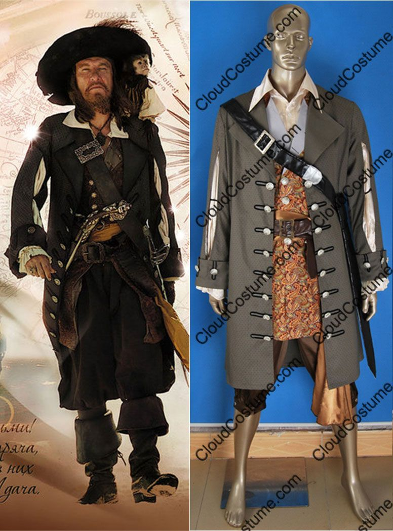 Pirates of the Caribbean Cosplay Barbossa Jacket Coat Outfit Costume Halloween:3