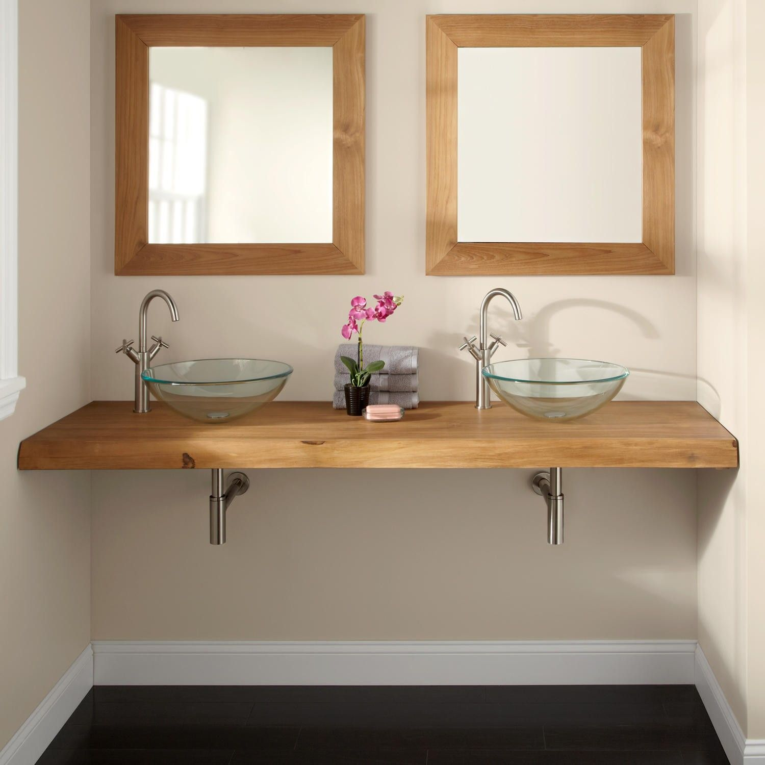 Website Picture Gallery  Natural Edge Teak Wall Mount Vanity Top for Vessel Sinks Bathroom