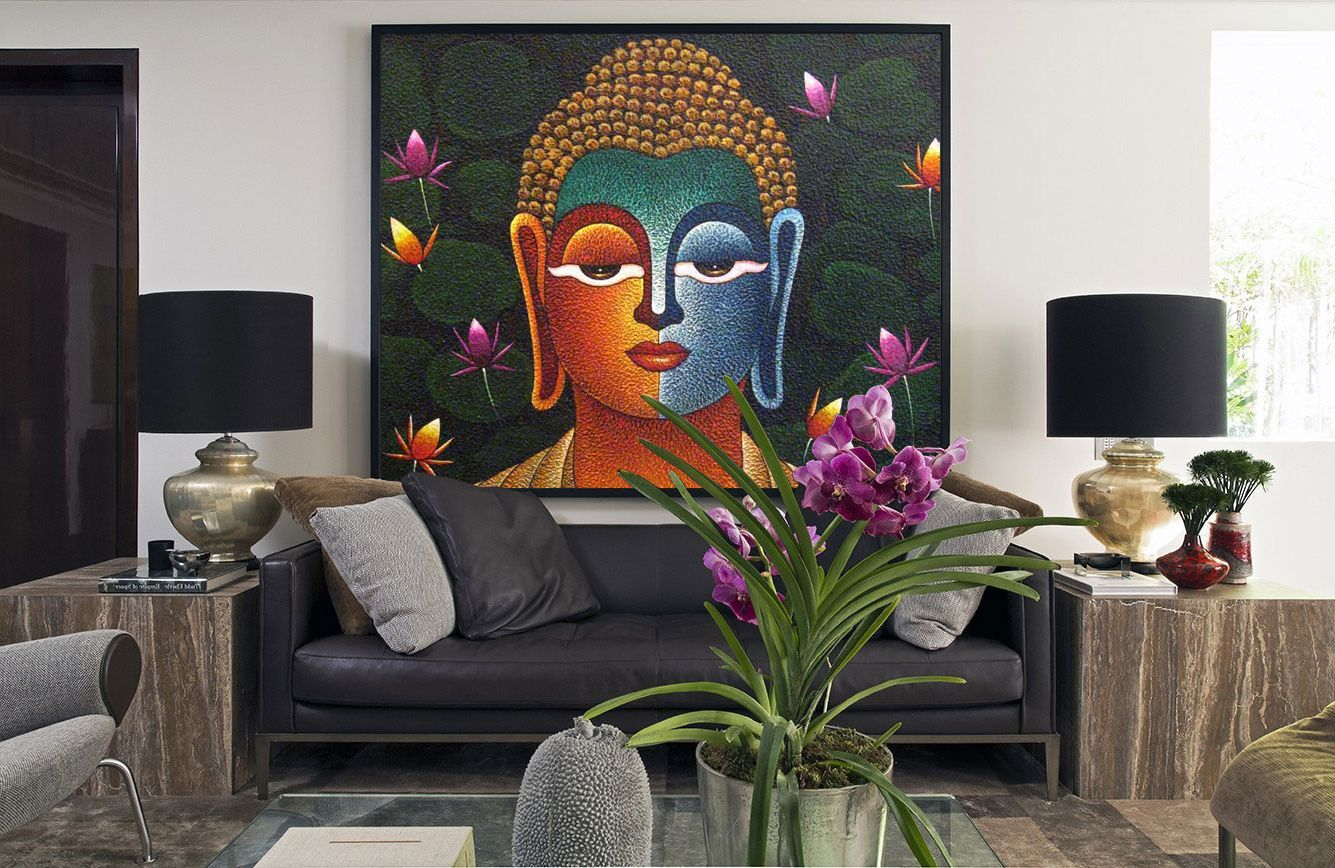 Awesome Large Buddha Wall Painting For Living Room Wall Decor 12 Inspiring Images Of Buddhist Home With Buddha Decor Buddha Wall Painting Buddha Living Room