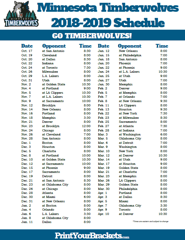photograph regarding Warriors Printable Schedule named Printable 2018-2019 Minnesota Timberwolves Routine