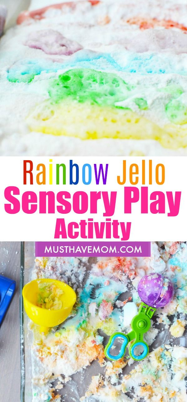 Rainbow Jello Sensory Play Activity! Fun Science For Kids is part of Kids Crafts Ideas For Mom - Try this fun rainbow jello sensory play activity with your kids and see the magical reactions when baking soda and vinegar meet in a colorful combination!
