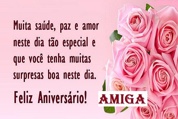 Feliz aniversário com rosas para amiga