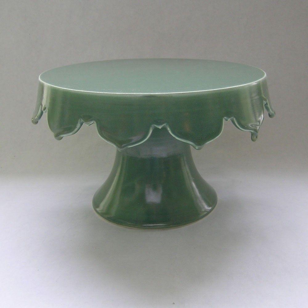Scalloped Edge Ceramic Cake Stand & Scalloped Edge Ceramic Cake Stand | Cake Pottery and Pottery plates