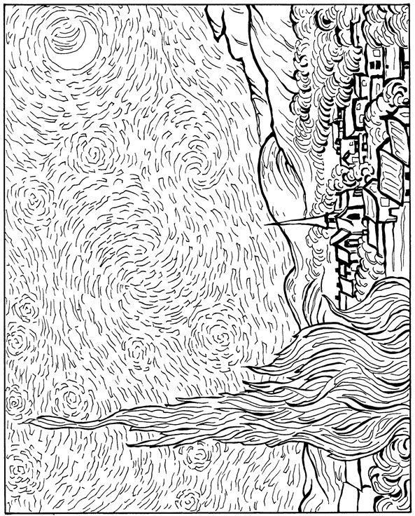 starry night coloring page vincent van gogh