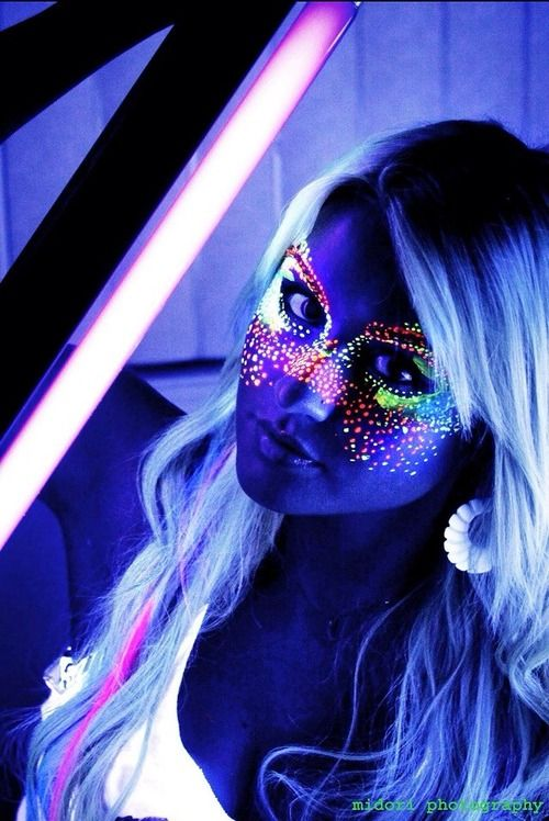 Glow in the dark face paint mask | Black light makeup ...