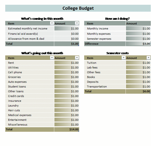 Make your life easier with this downloadable student budget – Budgeting Worksheets for Students