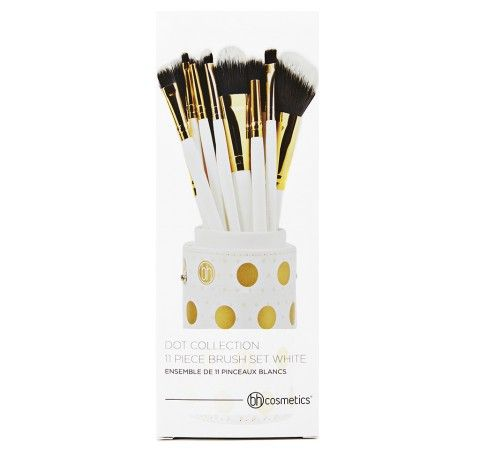 dot collection  11 piece brush set white  bh cosmetics
