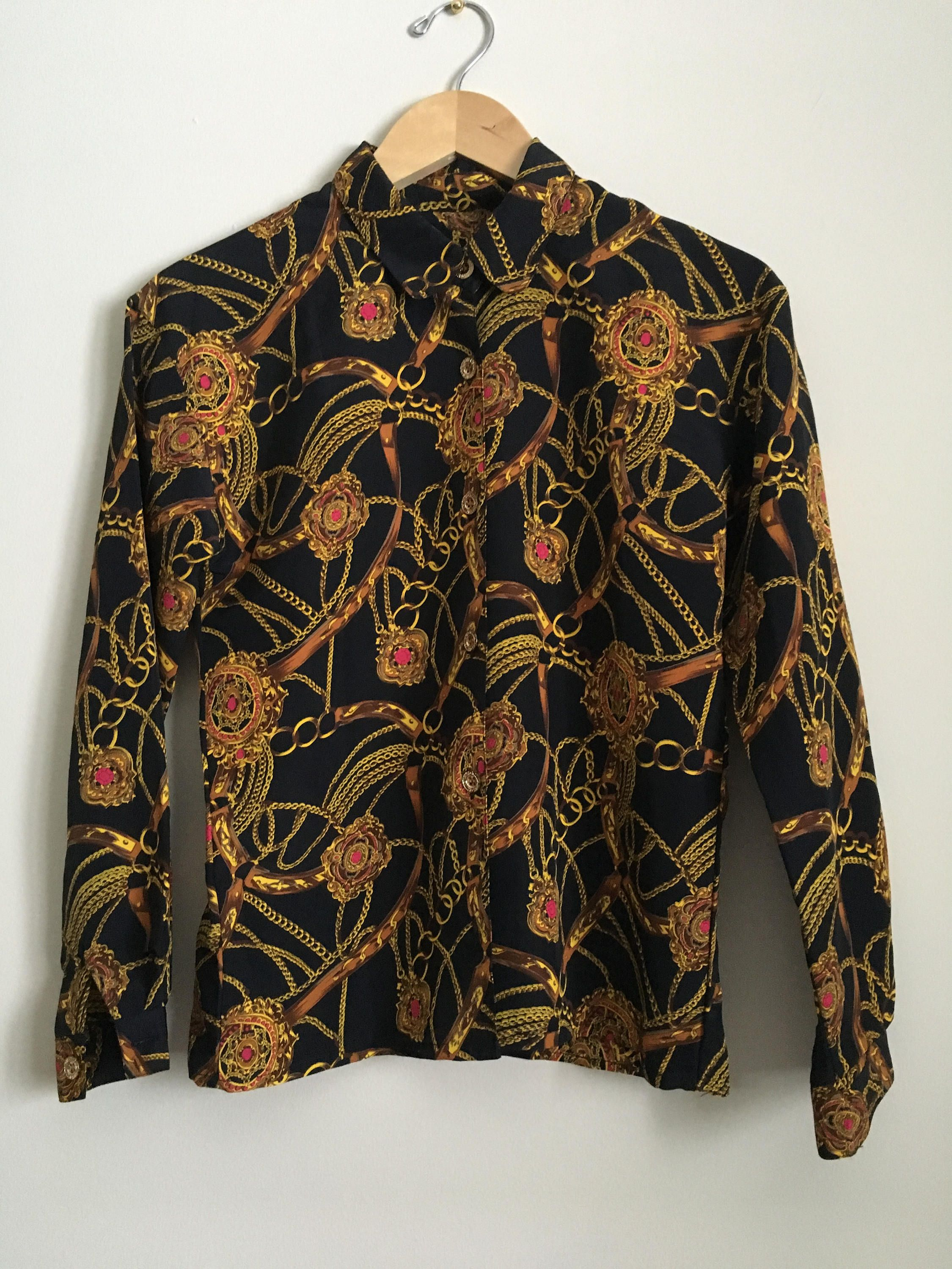 90s Printed Blouse Medium 1990s Button Down Long Sleeve