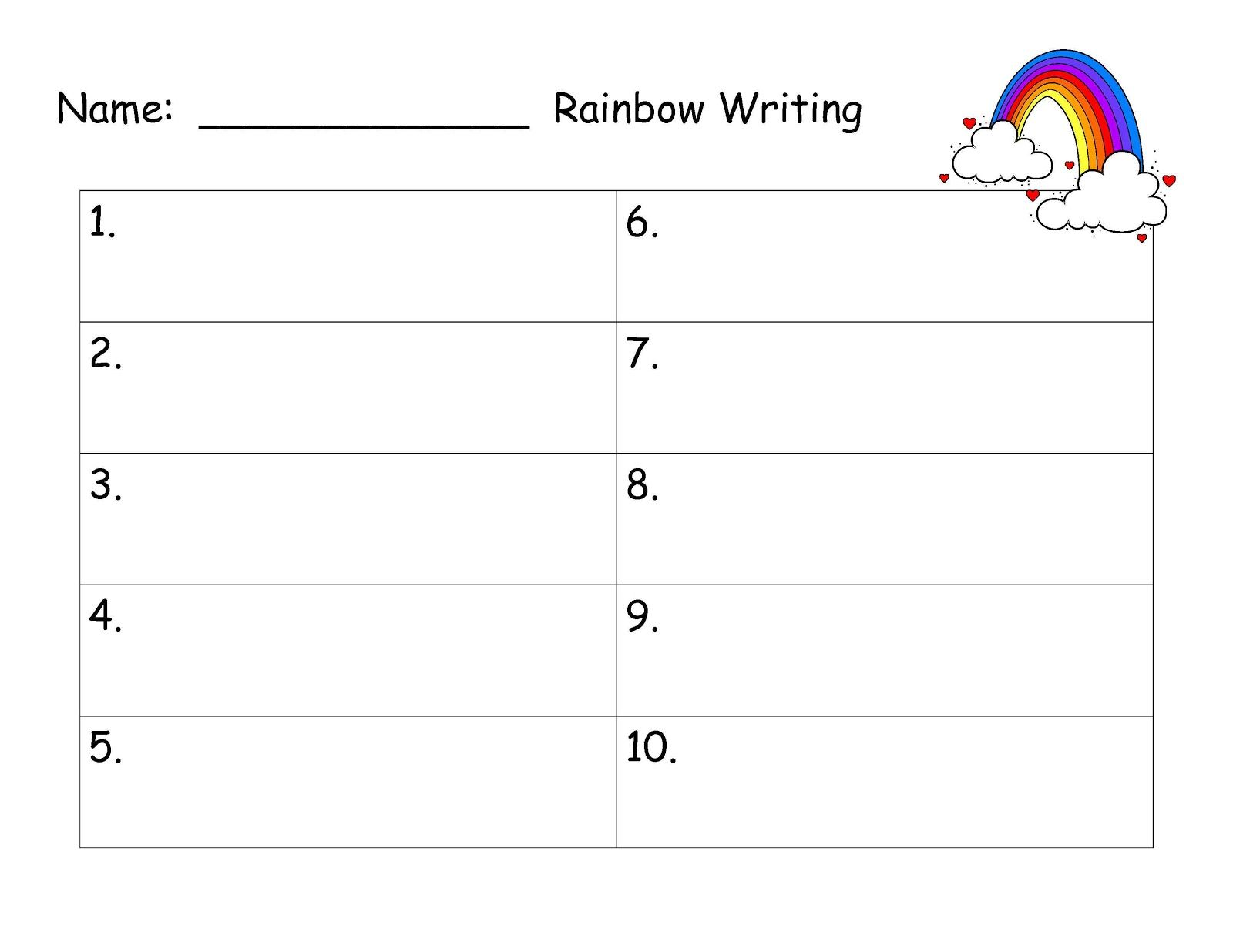 Rainbow Writing Spelling Words Template