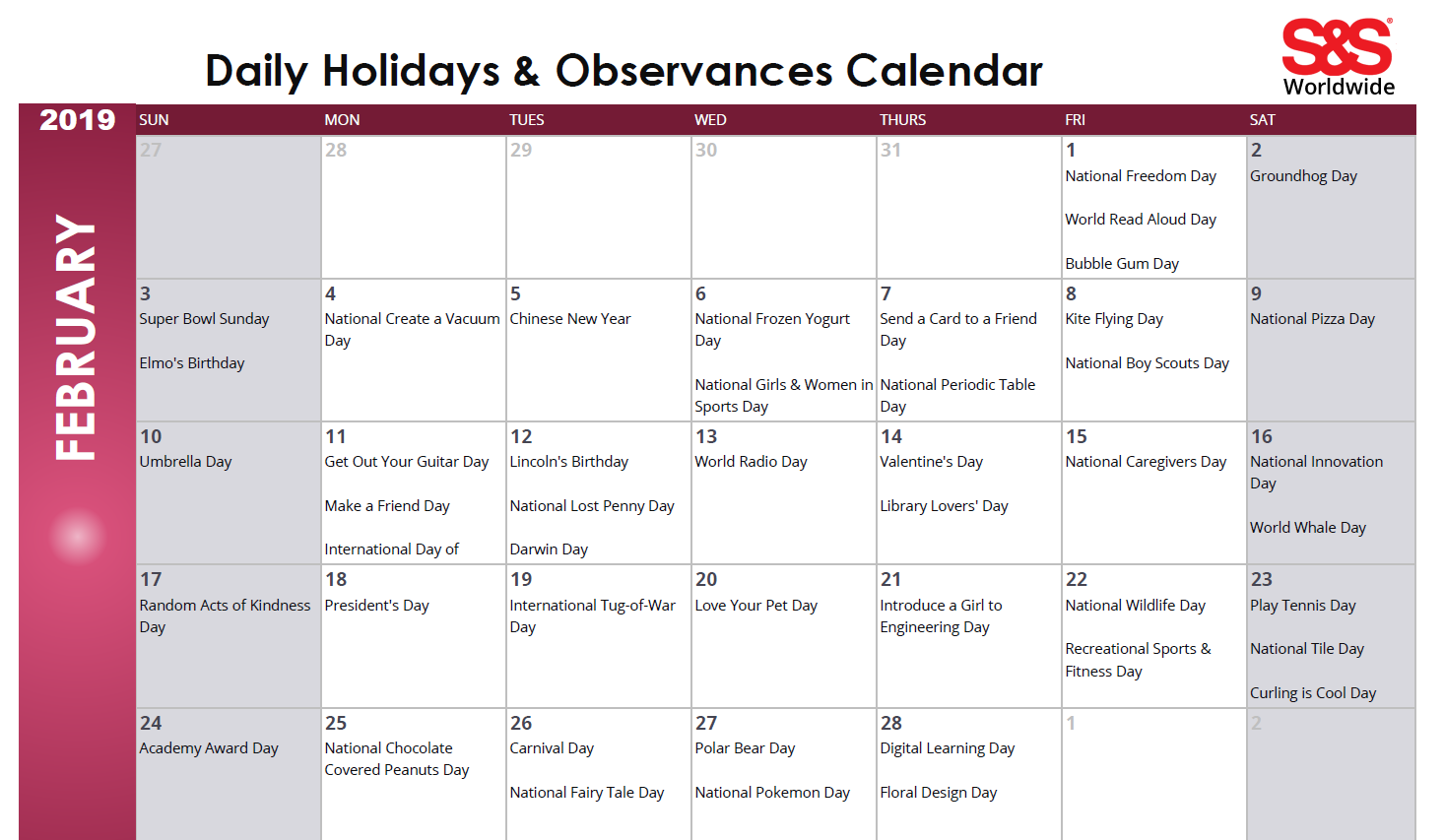 February Daily Holidays Amp Observances Printable Calendar