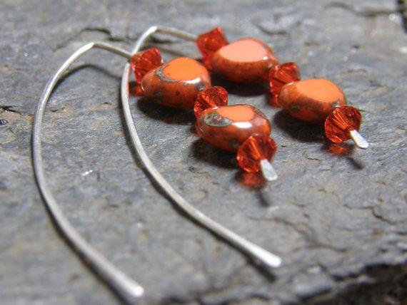Queen of Hearts Sterling Silver Earrings Long by Blackberrygardens, $21.00
