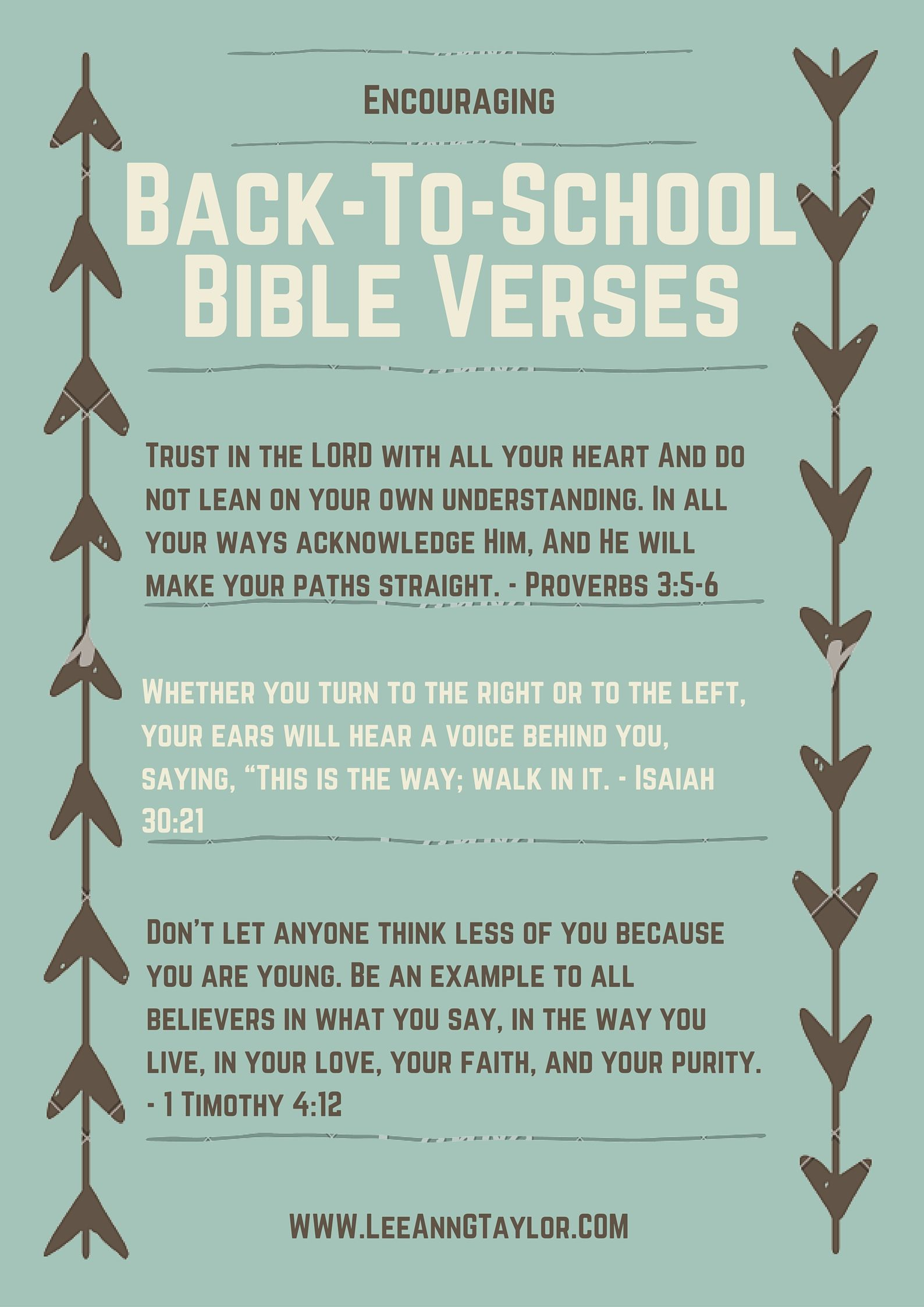encouraging bible verses for back to school ...