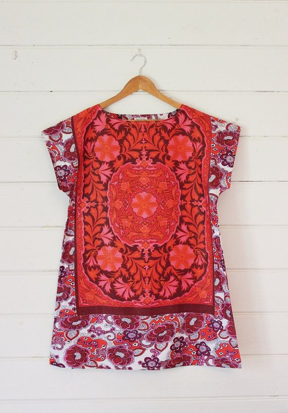 d06c458af0 Upcycled Linen Tea Towel Tunic Women Dress Vintage Floral Mod Mini Red Pink  Retro Cotton Large Plus Size