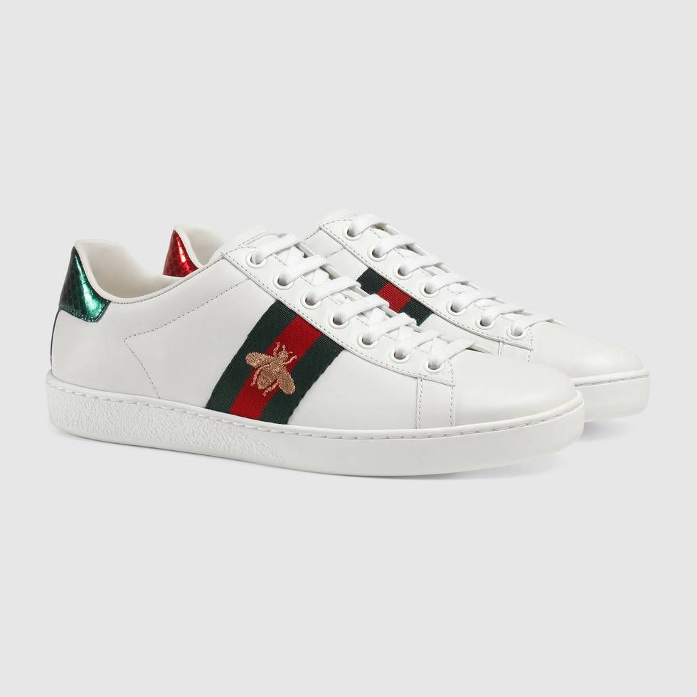 4dbc6e5d134 Shop the Ace embroidered sneaker by Gucci. Our classic low-top sneaker with  Gucci s iconic gold embroidered bee against our Web.The bee is an archival  code ...